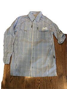 "Mens Cabela's Guidewear Outdoor Shirt Blue Check Size Medium 15-16"" Collar NWOT"