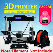 Print 6 Filament DIY 3D Printer Upgraded Acrylic High Reprap with 8GB Card& LCD