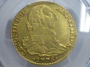 1776 SEVILLA 4 ESCUDOS PCGS AU55 GOLD CHARLES III SPAIN DOUBLOON COLONIAL ERA