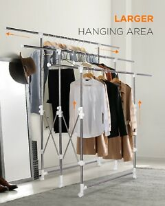 Clothes Drying Rack Garment Rack Foldable Adjustable Laundry Organizer w Casters