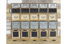 INDUSTRIAL RECLAIMED GREY WOOD METAL MINI DRAWERS STORAGE CABINET (DX5122)