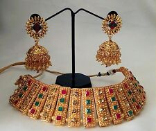 Indian Ethnic Polki Semi Bridal Ethnic Gold Plated Necklace and Earings set.