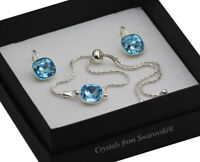 925 Silver Adjustable Bracelet/Set 10mm Aquamarine Crystals from Swarovski®