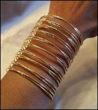 "Weave 3.5"" Tall Cuff Bracelet New Gold Metal Multi Thin Wire"
