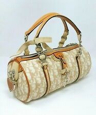 Christian Dior Small Trotter Romantique Beige Coated Canvas Tote Hand Bag Auth