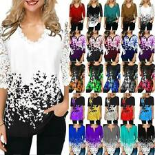 Women's 3/4 Sleeve Floral Tops Tunic Casual Loose T-Shirt Blouse Plus Size Hot