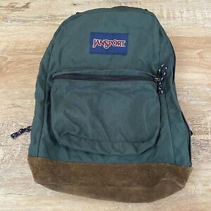 Vintage JANSPORT Green Backpack Leather Bottom