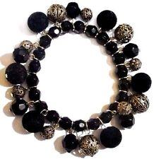 bracelet bijou vintage perle noir facette perle filigrane couleur argent  340