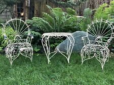 Vintage Salterini Style Childrens Wrought Twisted Iron Garden Patio Table Chairs