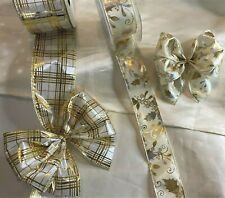 """63mm or 40mm"""" Wired Edge Ribbon❤️ Gold poinsettia or check ❤️ Christmas Ribbon"""