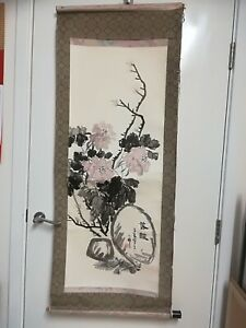 Old Traditional Chinese Watercolour Landscape  Painting on Rice Paper Scroll