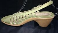 "DANSKO ""Raven"" Sandals ~Lime Green STRAPPY SLING Women Sz 10.5 -11 EU 41 Leather"