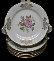 """Homer Laughlin QUEEN ESTHER 6 1/2"""" B & B/ Dessert Plates ~ Pink Roses ~ Set of 6"""