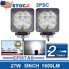 2PACKS 4.5IN 27W Flood LED Work Light Bar Square Jeep Tractor Truck Offroad Boat