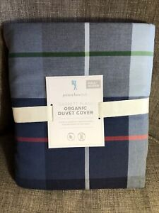 Pottery Barn Kids Garrett Blue Plaid Full Queen F/Q Duvet  - New