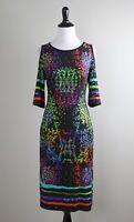 JOSEPH RIBKOFF NWT $209 Gold Sparkle Paillettes Cold Shoulder Dress Size 8