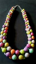 Colorful Chunky Cross Interlock Bead Necklace Hipster Trendy Matches All Outfits