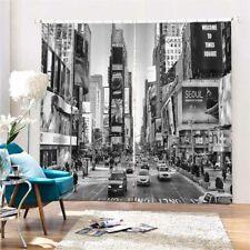 Clocks High Grey Cities 3D Curtain Blockout Photo Printing Curtains Drape Fabric