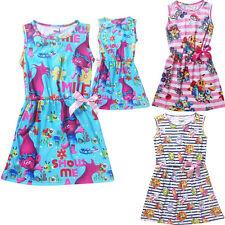 Trolls Pokemon Go Girls Dress Princess Party Dress Cotton Shirt T-shirts Skirt