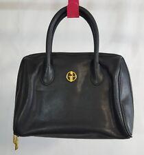 Giani Bernini Black Genuine Leather Satchel Tote Organizer Bag Pocket Small (P)