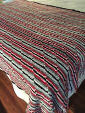 Vintage Hand Knit Throw Blanket Red Black White And Grey 81 Long 48 Wide