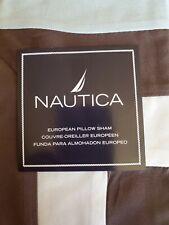 New Nautica Woodridge Lake Brown Blue Euro Pillow Sham