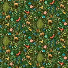Cuarto gordo pieceful recopilar Animal Bosque GRN Quilting fabric 100% algodón