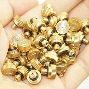 "20pcs 0.012"" Brass Misting Nozzles for Garden Cooling System - Thread Orifice"