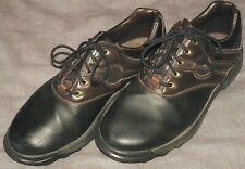 FOOTJOY GREENJOYS Men's Size 8W WIDE Black Brown Soft Spike GOLF Shoes EUC 45564