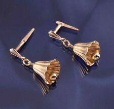 9ct Yellow Gold Bell Andralok Dropper Earrings.
