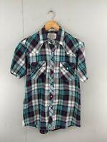 Saugatuck Men's Vintage Long Sleeve Western Shirt Pearl Snap Buttons Size M Blue