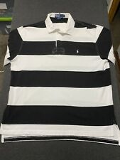 POLO Ralph Lauren Long Sleeve Rugby Striped Shirt Size Large Black White Pony