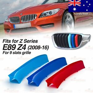 M-Power 9 BARS Kidney Grille 3 Color Cover Insert Clips fits BMW E89 Z4 2008-16