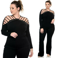 Plus Size Womens Sexy Cold Shoulder T Shirt Tops Ladies Baggy Blouse Shirt Tee