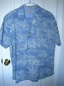 TOMMY BAHAMA + Hawaiian Shirt Men's XXL + 100% Cotton + PALM FLORAL... SHARP!