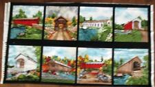 "1 Colorful ""Covered Bridges"" Quilting Sewing Crafting Fabric Panel"