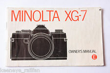 Minolta Xg-7 35mm Film Camera Manual Instruction Book - English - Used B64