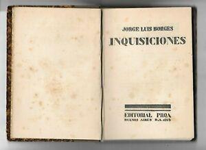 BORGES Jorge Luis. Inquisiciones. 1925, 1st Edition. Primera Edición