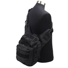 Molle Tactical Shoulder Sling Bag Messenger Backpack Military Hunting Bag Black