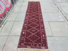 Fine Vintage Hand Made Afghan Mushvani Oriental Red Wool Narrow Runner 288x79cm