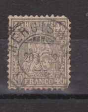 SWITZERLAND USED QV STAMP SG 66 1862 40c GREY THINNED SPACEFILLER CV £160