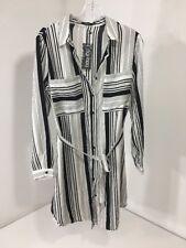 BOOHOO WOMEN'S LUCY STRIPE BELTED SHIRT DRESS WHITE/BLK UK:12/US:8 NEW