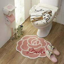 F/S Disney Beauty and the Beast  Toilet cover & rug set  Ships from Japan
