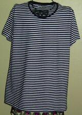 71 ) Tolles Schwarz / Weiß gestr. Damen T-Shirt Gr. XL Der Firma Chales Vögele
