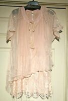 Pretty Angel layered tunic top sheer flowing lace Pink S M L XL lined