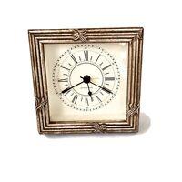 Vintage Small Wooden Table/Shelf Promese de L'avenir ClockAlarm Roman Numeral