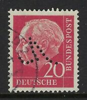 "Germany Fancy ""V"" Perfin on 20pf. Heuss I stamp (DR Lochungen)"
