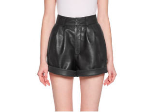 Designer HOT Mini Partywear Cocktail Genuine Lambskin Leather Shorts For Women's