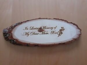 "Engraved ""In Loving Memory of my Dear Mum xxx"" Wooden Memorial Plaque Gift Sign."