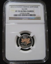 2012 CANADA 1c SILVER CENT NGC PF70 UC GOLD MAPLE First Last Farewell Penny 048~